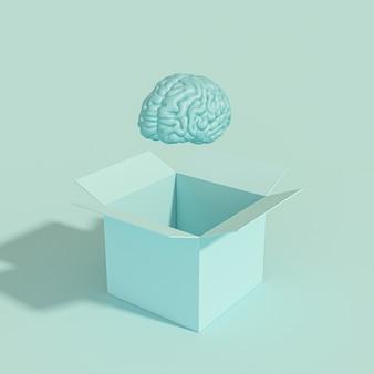 Cerebro humano saliendo de una caja