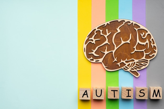 Cerebro humano. seis cubos con la inscripción autismo.