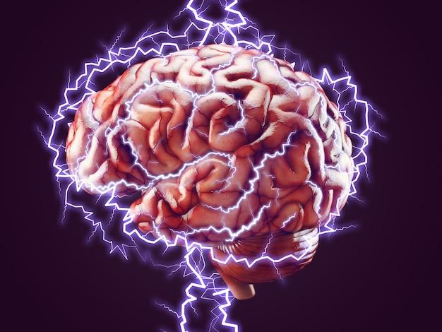 Cerebro con relámpagos, concepto de lluvia de ideas