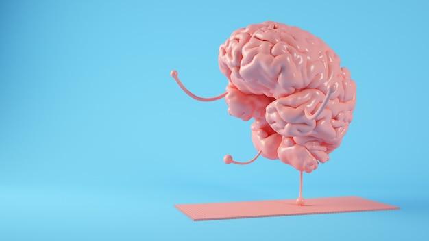 Cerebro rosa haciendo ejercicios de yoga render 3d