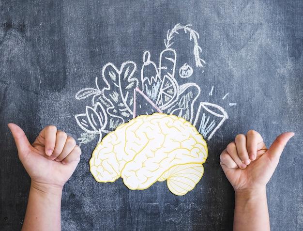 Cerebro y vegetales dibujados con el pulgar arriba signo en la pizarra