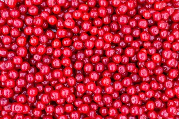 Cerezas rojas frescas, textura de fondo de frutas de verano.