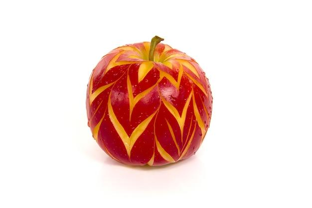 Cerrar el deseo de estilo de manzana roja suiza aislado sobre un fondo blanco
