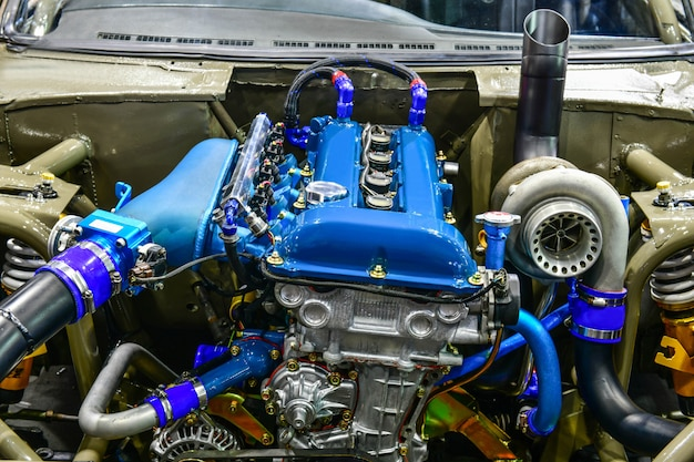 Cerrar detalles del motor del automóvil. modificación del motor.