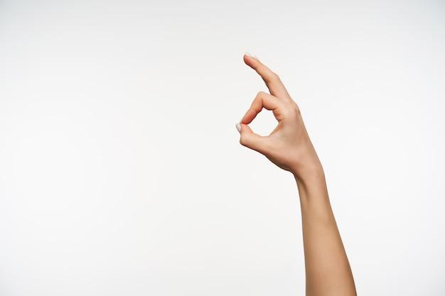 Cerrar en elegante mano de mujer joven levantando la mano mostrando gesto ok