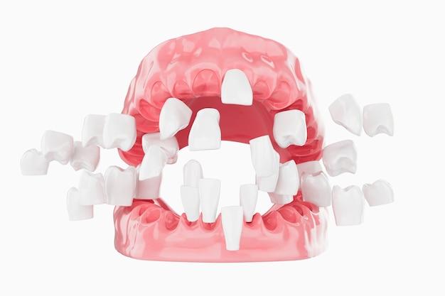 Cerrar explotar belleza dientes cuidado de la salud. enfoque selectivo. renderizado 3d