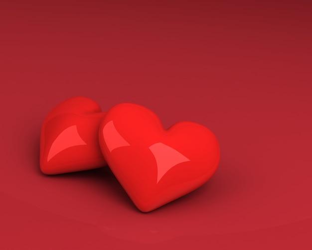 Cerrar en formas de corazón rojo