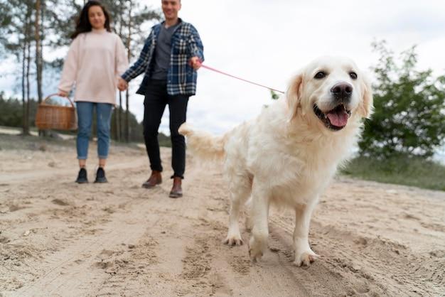 Cerrar gente caminando con perro al aire libre