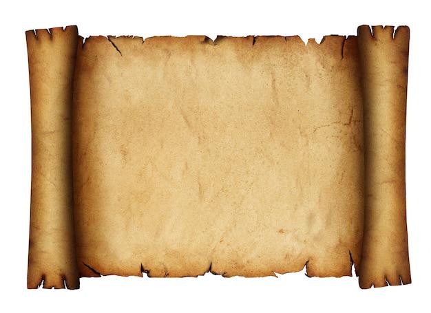 Cerrar un rollo de pergamino de papel marrón antiguo antiguo en blanco aislado sobre fondo blanco.
