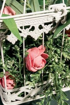 Cerrar rosas en jaula blanca