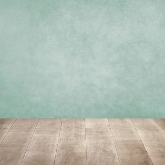 Cerrar sobre piso de madera y paredes coloridas
