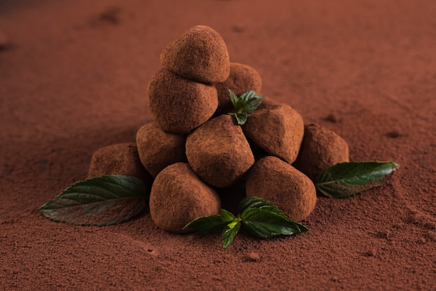 Cerrar trufas con cacao en polvo