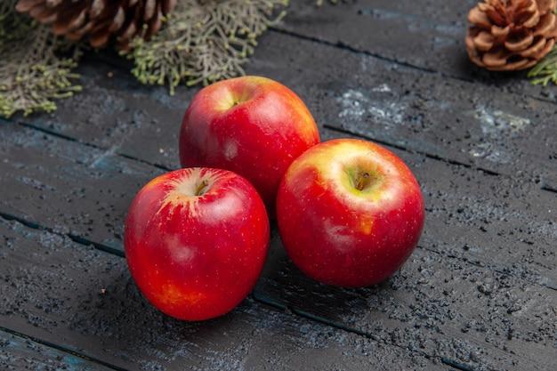 Cerrar vista lateral frutas sobre fondo gris manzanas sobre fondo gris y ramas con conos