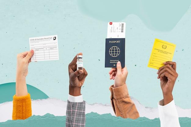 Certificado de botella de vacuna covid-19 y pasaporte de viaje remezclado de medios