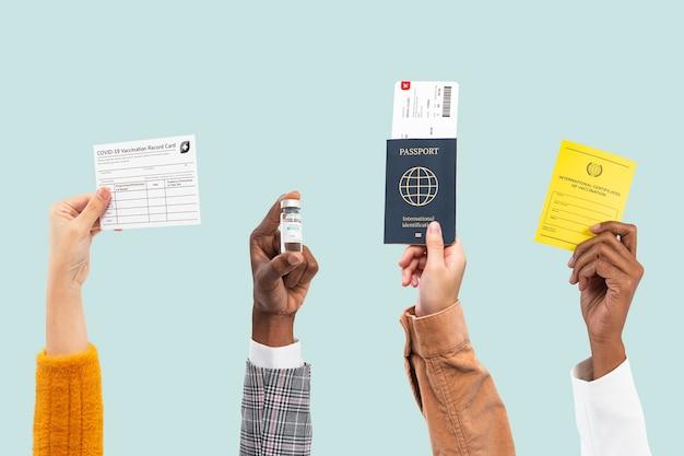 Certificado de botella de vacuna covid-19 y pasaporte de viaje