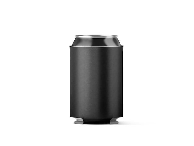 Cerveza plegable negra en blanco puede koozie aislado