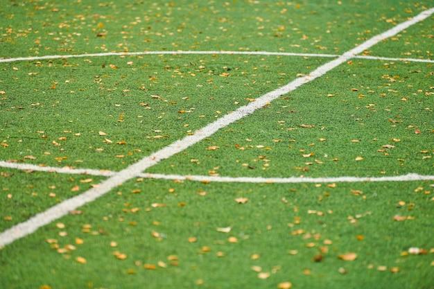 Césped artificial en campo deportivo con marcado