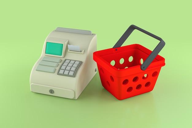 Cesta de la compra con caja registradora, representación 3d
