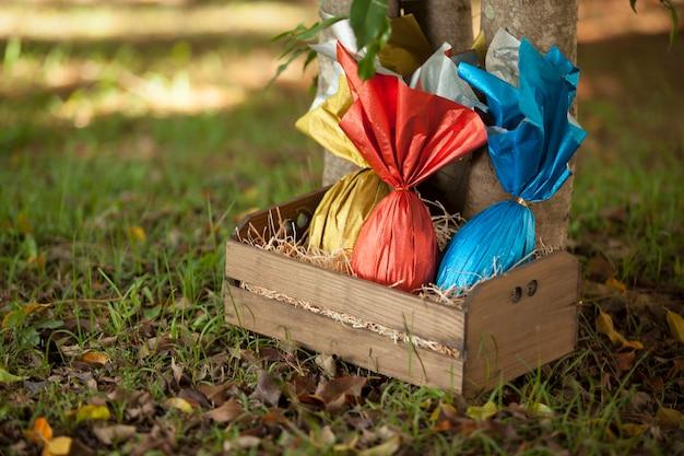 Cesta de huevos de pascua brasileños bajo un árbol
