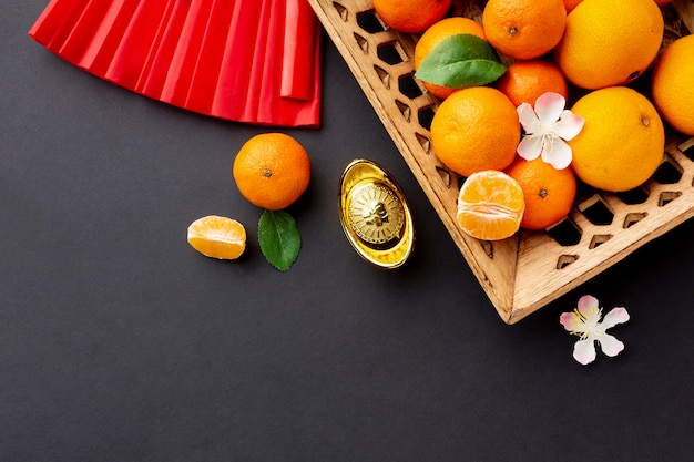 Cesta de mandarina año nuevo chino