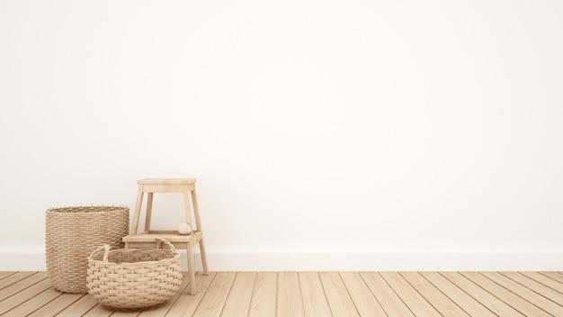 Cesta de mimbre y taburete en la sala blanca para obras de arte - 3d rende