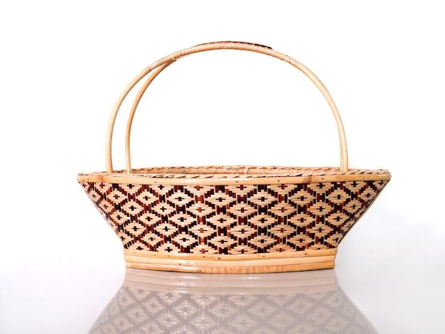 Cesta de mimbre tailandesa vintage, estilo de moda artesanal, bolsos para mujeres de tejido de bambú