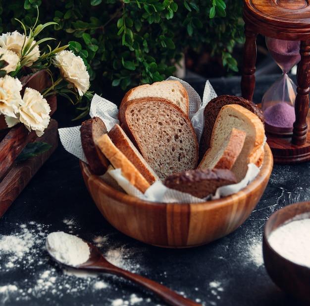 Cesta de pan en rodajas