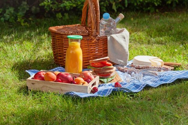 Cesta de picnic con diferentes aperitivos en la hierba verde en el jardín.
