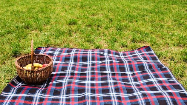 Cesta de picnic en manta sobre la hierba verde