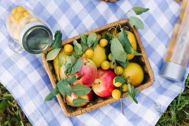 Cesta de picnic con manzanas y ciruelas en el césped.