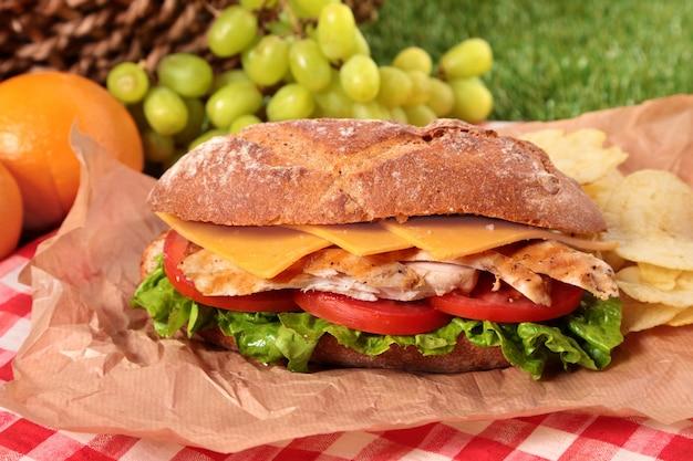 Cesta de picnic con sándwich delicioso de baguette de pollo