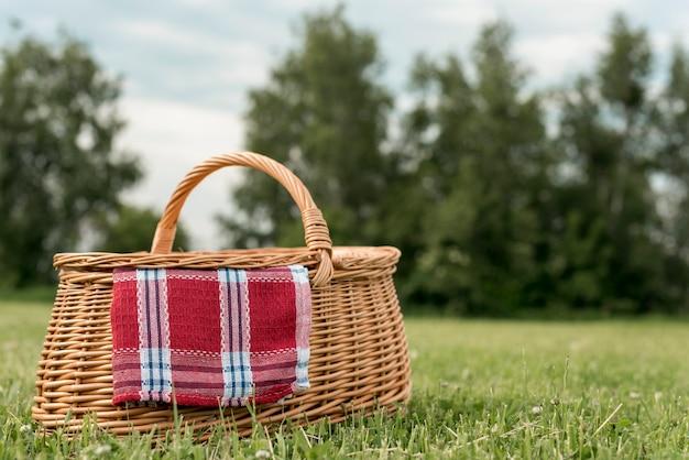 Cesta de picnic sobre césped del parque