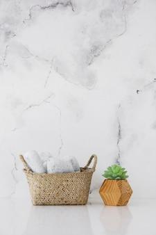 Cesta y planta con fondo de mármol y espacio de copia