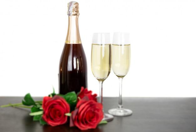 Champagne botella dos copas
