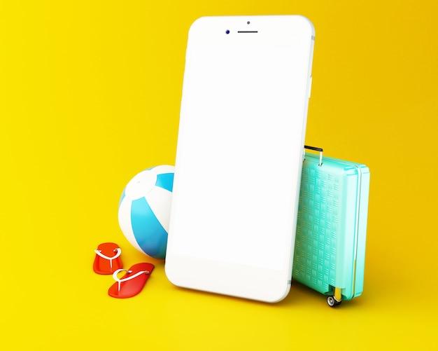 Chancletas 3d, maleta del viaje y pelota de playa en un smartphone con la pantalla blanca.