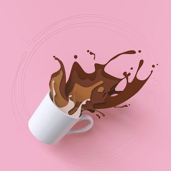 Chapoteo del café fuera de una taza blanca en el diseño de papel del arte.
