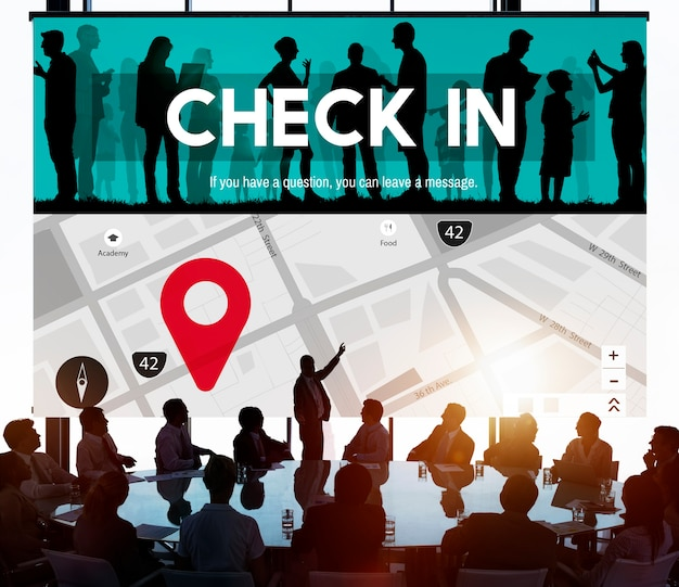 Check in location mark navigation concept
