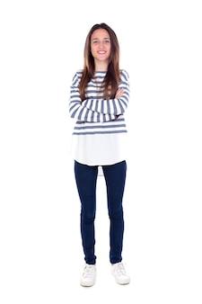 Chica adolescente con camiseta a rayas y sus brazos cruzados