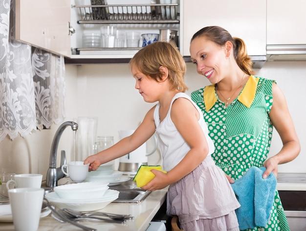 Chica ayudando a mamá a lavar los platos