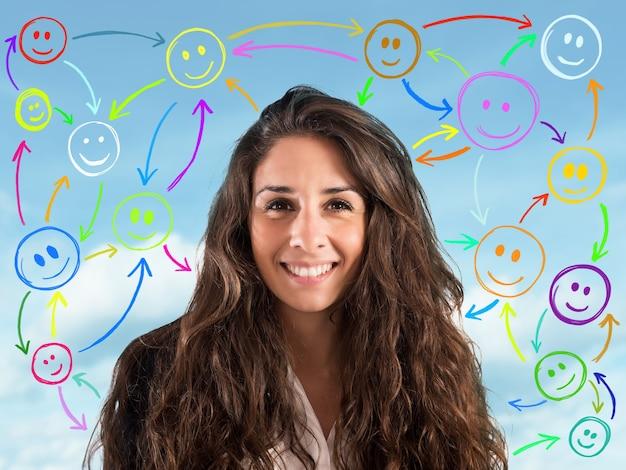 Chica con cara sonriente con caritas de fondo conectados entre sí. concepto de chat en la red social.