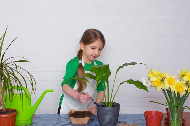 Chica en delantal de trasplante de flores rocía el suelo con una espátula contra el fondo de la pared de ladrillo blanco.