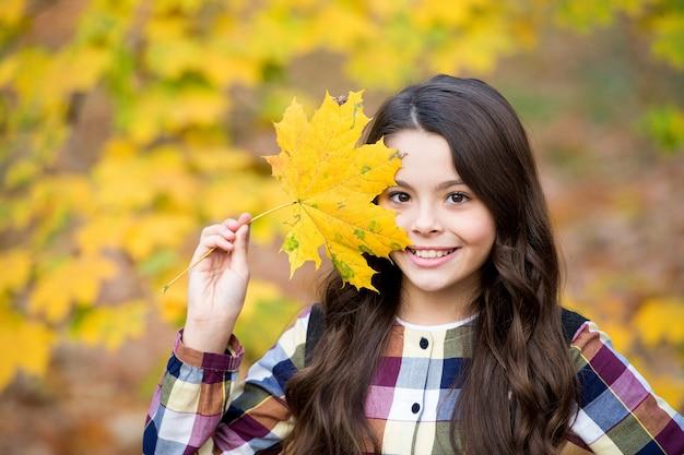 Chica guapa con hojas de arce amarillas, naturaleza otoñal.
