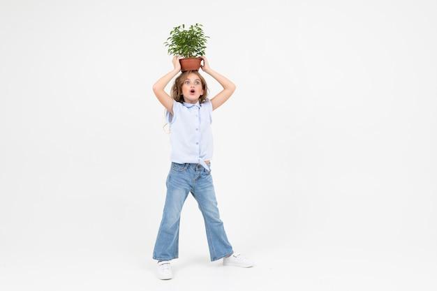 Chica jardinero adolescente sosteniendo una planta de interior con hojas verdes sobre un blanco con espacio de copia