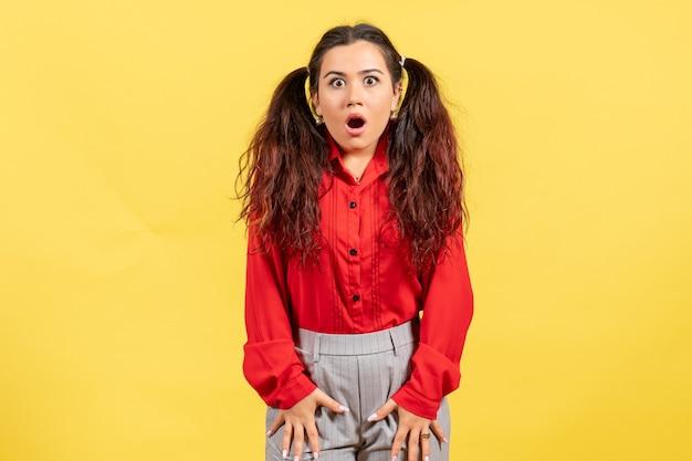 Chica joven en blusa roja posando con cara de sorpresa en amarillo claro