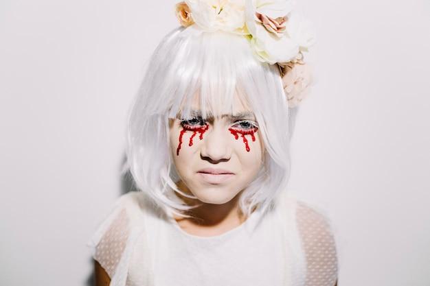 Chica llorando con lágrimas de sangre