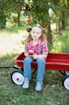 Chica con manzana en el huerto de manzanas