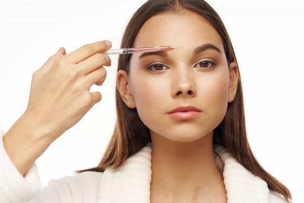 Chica retrato estudio cuidado de la piel