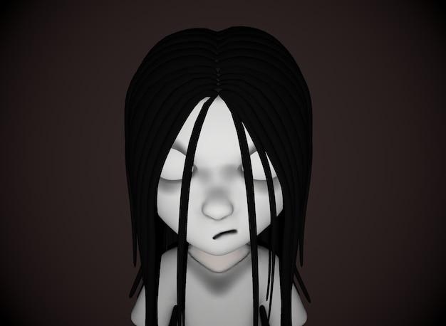 Chica de terror de personaje de dibujos animados de miedo con renderizado 3d de cabello negro.