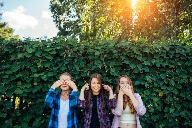 Las chicas atractivas se divierten y se ríen en un día de verano en el parque. tres mujeres se cubren los oídos, los ojos y la boca.