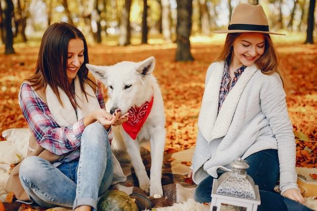 Chicas guapas se divierten en un parque de otoño